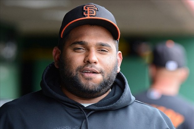 Mar 20, 2013; Scottsdale, AZ, USA; San Francisco Giants third baseman Pablo Sandoval (48) in the dugout during the third inning against the Milwaukee Brewers at Scottsdale Stadium. Mandatory Credit: Jake Roth-USA TODAY Sports