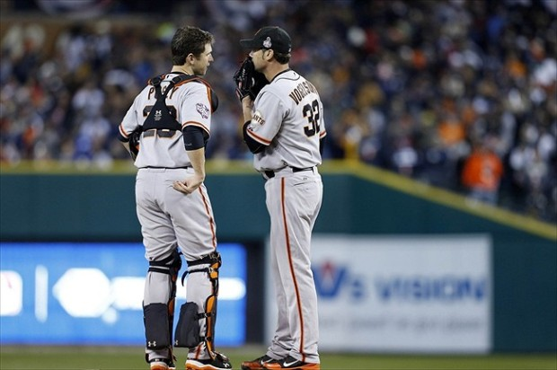 Oct 27, 2012; Detroit, MI, USA; San Francisco Giants starting pitcher Ryan Vogelsong (32) talks to catcher Buster Posey (28) during the fifth inning of game three of the 2012 World Series against the Detroit Tigers at Comerica Park. Mandatory Credit: Rick Osentoski-USA TODAY Sports