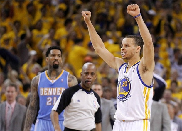 Apr 26, 2013; Oakland, CA, USA; Golden State Warriors guard Stephen Curry (30) celebrates after the Warriors defeated the Denver Nuggets 110-108 in game three of the first round of the 2013 NBA playoffs at Oracle Arena. Mandatory Credit: Cary Edmondson-USA TODAY Sports