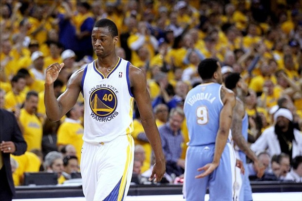 Apr 26, 2013; Oakland, CA, USA; Golden State Warriors forward Harrison Barnes (40) pumps his fist after the Warriors made a basket against the Denver Nuggets in the third quarter during game three of the first round of the 2013 NBA playoffs at Oracle Arena. The Warriors defeated the Nuggets 110-108. Mandatory Credit: Cary Edmondson-USA TODAY Sports