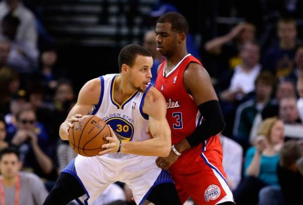 Two of the league's best point guards in Stephen Curry and Chris Paul will go at it at the Staples Center. - Ezra Shaw
