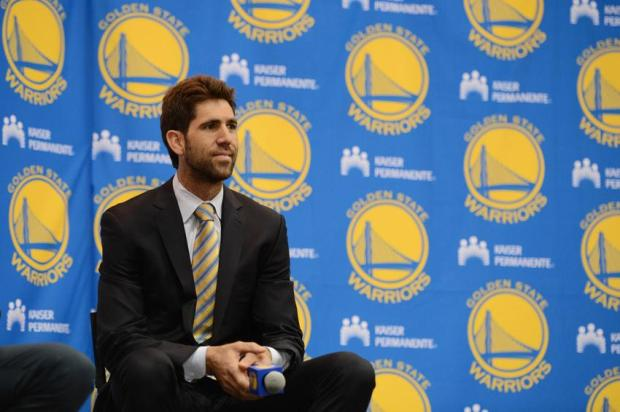 July 11, 2013; Oakland, CA, USA; Golden State Warriors general manager Bob Myers addresses the media in a press conference after a sign-and-trade deal for Andre Iguodala (not pictured) at the Warriors Practice Facility. Mandatory Credit: Kyle Terada-USA TODAY Sports