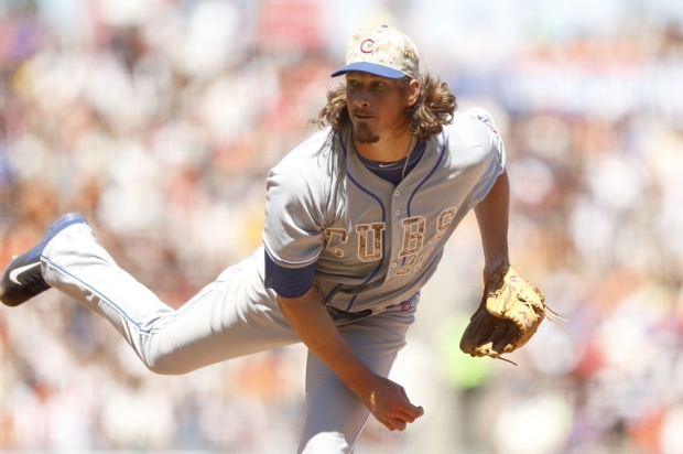 May 26, 2014; San Francisco, CA, USA; Chicago Cubs pitcher Jeff Samardzija (29) follows through on a pitch against the San Francisco Giants in the sixth inning at AT&T Park. Mandatory Credit: Cary Edmondson-USA TODAY Sports