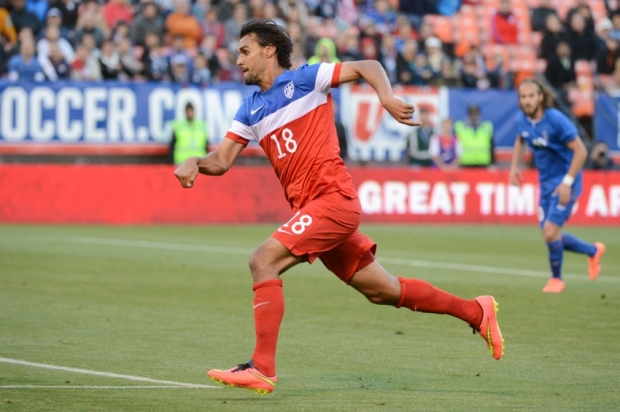 May 27, 2014; San Francisco, CA, USA; United States forward Chris Wondolowski (18) runs during the first half against Azerbaijan at Candlestick Park. Mandatory Credit: Kyle Terada-USA TODAY Sports