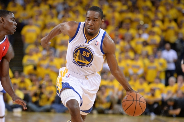 May 1, 2014; Oakland, CA, USA; Golden State Warriors guard Jordan Crawford (55) dribbles the basketball during the second quarter in game six of the first round of the 2014 NBA Playoffs against the Los Angeles Clippers at Oracle Arena. The Warriors defeated the Clippers 100-99. Mandatory Credit: Kyle Terada-USA TODAY Sports