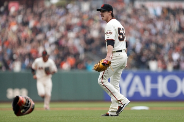 Jun 25, 2014; San Francisco, CA, USA; San Francisco Giants starting pitcher Tim Lincecum (55) reacts after a no-hitter against the San Diego Padres at AT&T Park. The San Francisco Giants defeated the San Diego Padres 4-0. Mandatory Credit: Kelley L Cox-USA TODAY Sports