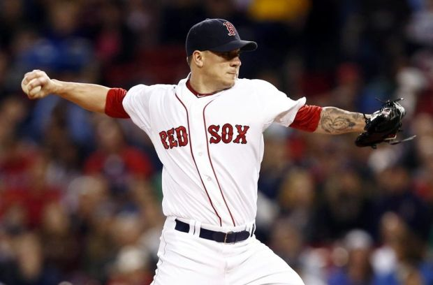 May 18, 2014; Boston, MA, USA; Boston Red Sox starting pitcher Jake Peavy (44) pitches against the Detroit Tigers during the first inning at Fenway Park. Mandatory Credit: Mark L. Baer-USA TODAY Sports
