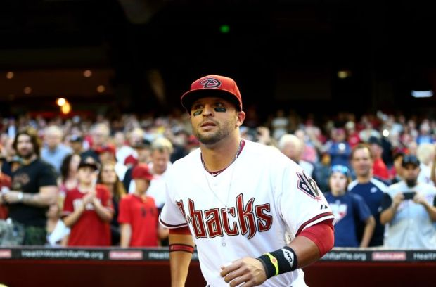 Mar 31, 2014; Phoenix, AZ, USA; Arizona Diamondbacks third baseman Martin Prado against the San Francisco Giants during opening day baseball game at Chase Field. Mandatory Credit: Mark J. Rebilas-USA TODAY Sports