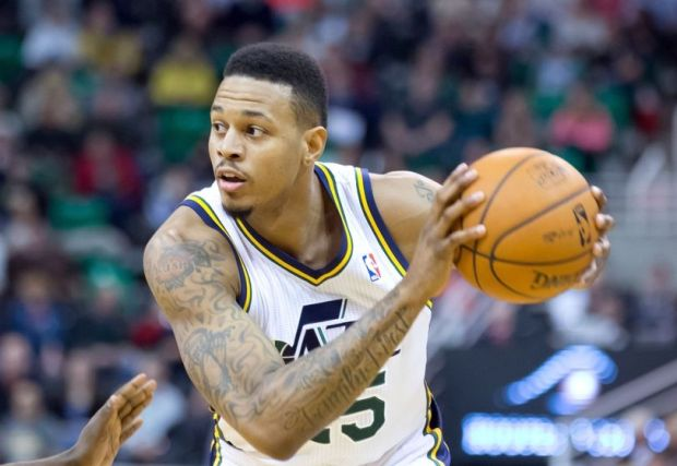 Jan 10, 2014; Salt Lake City, UT, USA; Utah Jazz shooting guard Brandon Rush (25) controls the ball during the second half against the Cleveland Cavaliers at EnergySolutions Arena. The Cavaliers won 113-102. Mandatory Credit: Russ Isabella-USA TODAY Sports