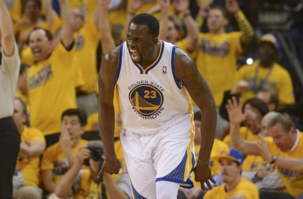 May 1, 2014; Oakland, CA, USA; Golden State Warriors forward Draymond Green (23) celebrates after making a basket against the Los Angeles Clippers during the third quarter in game six of the first round of the 2014 NBA Playoffs at Oracle Arena. The Warriors defeated the Clippers 100-99. Mandatory Credit: Kyle Terada-USA TODAY Sports