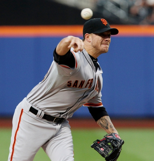 Aug 2, 2014; New York, NY, USA; San Francisco Giants starting pitcher Jake Peavy (43) delivers a pitch against the New York Mets in the first inning at Citi Field. Mandatory Credit: Noah K. Murray-USA TODAY Sports