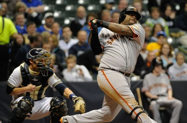Apr 16, 2013; Milwaukee, WI, USA; San Francisco Giants third baseman Pablo Sandoval during the game against the Milwaukee Brewers at Miller Park. Mandatory Credit: Benny Sieu-USA TODAY Sports