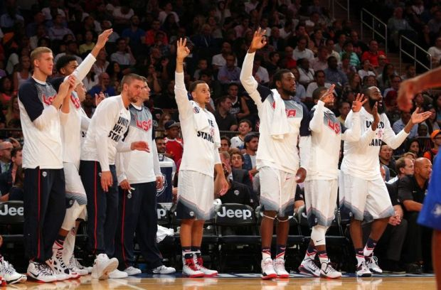 Aug 20, 2014; New York, NY, USA; The United States bench reacts during the second half of a game against the Dominican Republic at Madison Square Garden. Mandatory Credit: Brad Penner-USA TODAY Sports