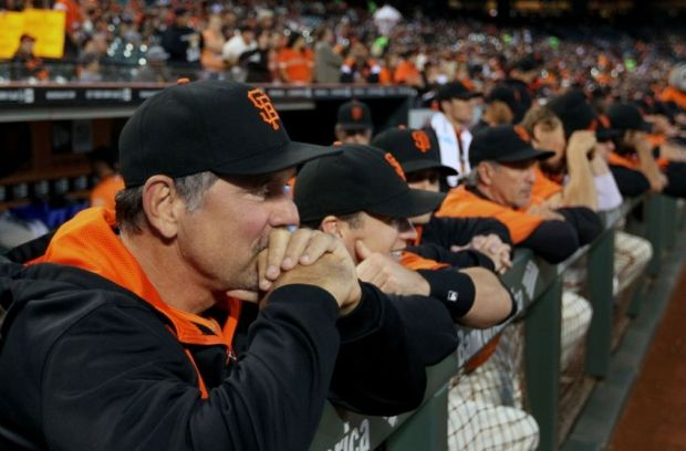 Sep 26, 2014; San Francisco, CA, USA; San Francisco Giants manager Bruce Bochy (15) looks on prior to the game with the San Diego Padres at AT&T Park. Mandatory Credit: Lance Iversen-USA TODAY Sports