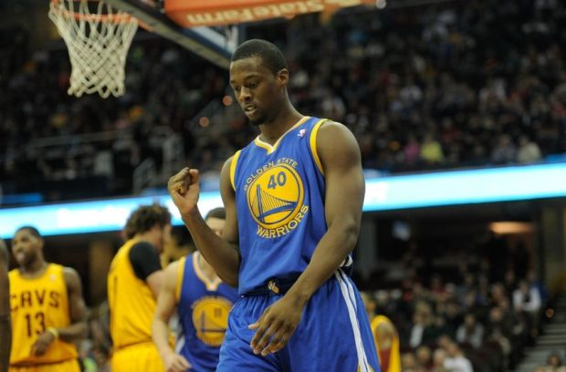 Dec 29, 2013; Cleveland, OH, USA; Golden State Warriors small forward Harrison Barnes reacts during a game against the Cleveland Cavaliers at Quicken Loans Arena. The Warriors won 108-104. Mandatory Credit: David Richard-USA TODAY Sports