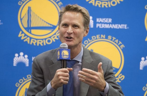 May 20, 2014; Oakland, CA, USA; Steve Kerr addresses the media in a press conference after being introduced as the new head coach for the Golden State Warriors at the Warriors Practice Facility. Mandatory Credit: Kyle Terada-USA TODAY Sports