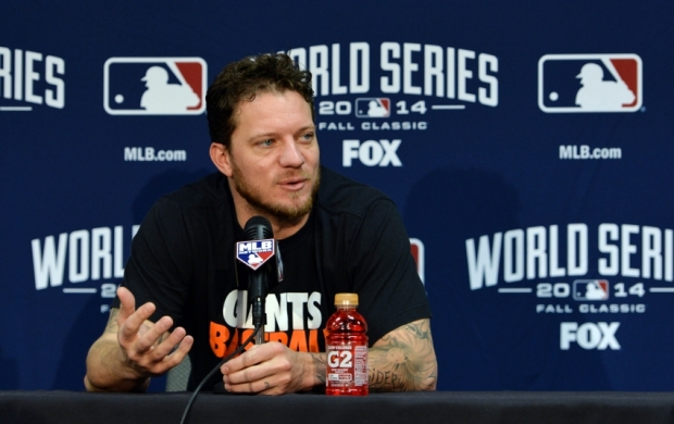 Oct 21, 2014; Kansas City, MO, USA; San Francisco Giants pitcher Jake Peavy is interviewed before game one of the 2014 World Series against the Kansas City Royals at Kauffman Stadium. Mandatory Credit: Peter G. Aiken-USA TODAY Sports