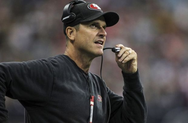 Aug 28, 2014; Houston, TX, USA; San Francisco 49ers head coach Jim Harbaugh stands on the sideline during the second quarter against the Houston Texans at NRG Stadium. Mandatory Credit: Troy Taormina-USA TODAY Sports