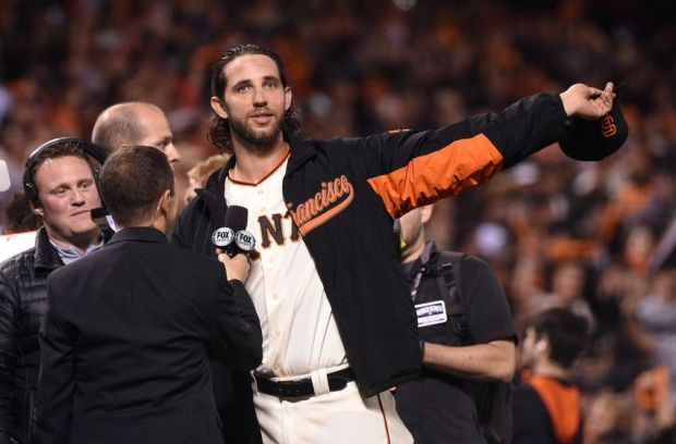 Oct 26, 2014; San Francisco, CA, USA; San Francisco Giants starting pitcher Madison Bumgarner waves to the crowd after defeating the Kansas City Royals during game five of the 2014 World Series at AT&T Park. Mandatory Credit: Kyle Terada-USA TODAY Sports