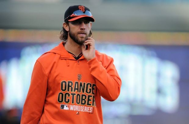 Oct 20, 2014; Kansas City, MO, USA; San Francisco Giants starting pitcher Madison Bumgarner (40) during practice the day before the start of the 2014 World Series at Kauffman Stadium. Mandatory Credit: Christopher Hanewinckel-USA TODAY Sports