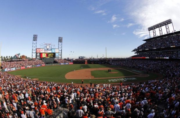 Oct 6, 2014; San Francisco, CA, USA; An overall view of the stadium during the seventh inning stretch in game three of the 2014 NLDS baseball playoff game between the Washington Nationals and the San Francisco Giants at AT&T Park. Mandatory Credit: Kelley L Cox-USA TODAY Sports