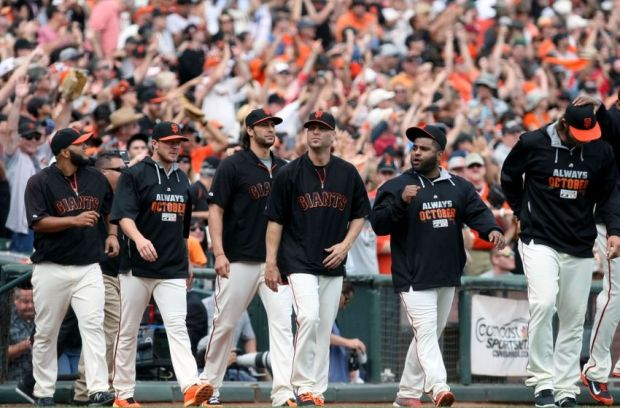Sep 28, 2014; San Francisco, CA, USA; San Francisco Giants celebrate their last regular season game with their fans after defeating the San Diego Padres 9-3 at AT&T Park. Mandatory Credit: Lance Iversen-USA TODAY Sports