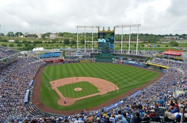 Aug 10, 2014; Kansas City, MO, USA; A general view of Kauffman Stadium during a game between the Kansas City Royals and the San Francisco Giants. Kansas City defeated San Francisco 7-4. Mandatory Credit: Peter G. Aiken-USA TODAY Sports