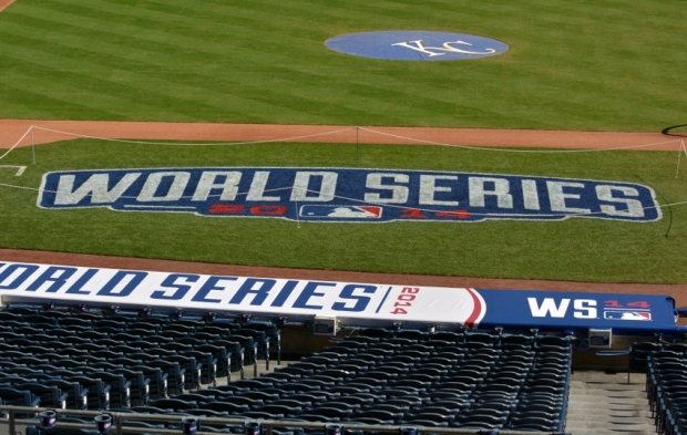 Oct 20, 2014; Kansas City, MO, USA; A general view of the field with logos before practice the day before the start of the 2014 World Series between the Kansas City Royals and San Francisco Giants at Kauffman Stadium. Mandatory Credit: Denny Medley-USA TODAY Sports