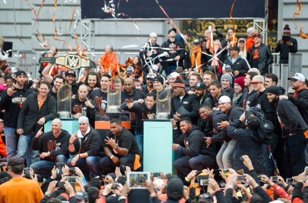 Oct 31, 2014; San Francisco, CA, USA; The San Francisco Giants team poses for photos during the World Series celebration at City Hall. The San Francisco Giants defeated the Kansas City Royals in game seven of the World Series. Mandatory Credit: Ed Szczepanski-USA TODAY Sports