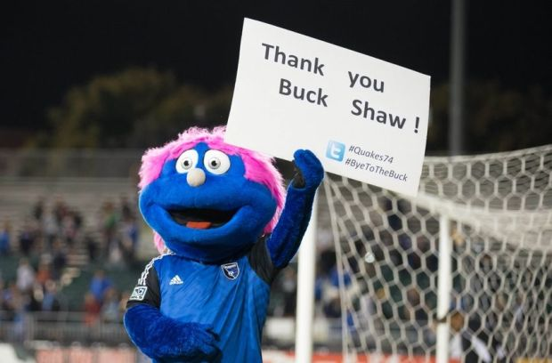 "Oct 18, 2014; Santa Clara, CA, USA; San Jose Earthquakes mascot holds a sign ""Thank you Buck Shaw"" after the final game at Buck Shaw Stadium before the Earthquakes move to a new stadium for the 2015 season. The San Jose Earthquakes tied Vancouver FC 0-0. Mandatory Credit: Kelley L Cox-USA TODAY Sports"