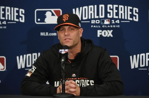 October 23, 2014; San Francisco, CA, USA; San Francisco Giants starting pitcher Tim Hudson (17) addresses the media in a press conference during workouts the day before game three of the 2014 World Series at AT&T Park. Mandatory Credit: Kyle Terada-USA TODAY Sports