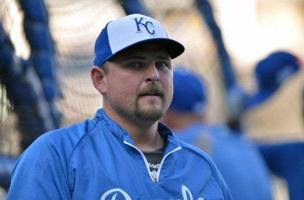 Sep 30, 2014; Kansas City, MO, USA; Kansas City Royals designated hitter Billy Butler (16) looks on during batting practice prior to the 2014 American League Wild Card playoff baseball game against the Oakland Athletics at Kauffman Stadium. Mandatory Credit: Denny Medley-USA TODAY Sports