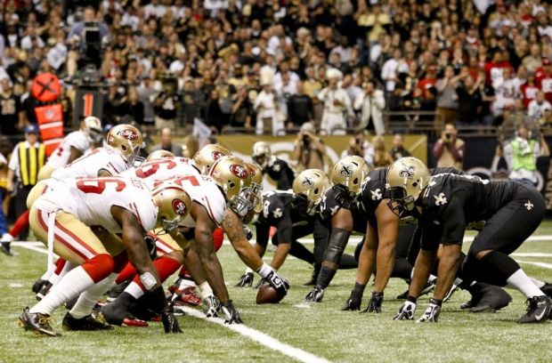 November 25, 2012; New Orleans, LA, USA; San Francisco 49ers offense lines up against the New Orleans Saints defense during the second half of a game at the Mercedes-Benz Superdome. The 49ers defeated the Saints 31-21. Mandatory Credit: Derick E. Hingle-USA TODAY Sports