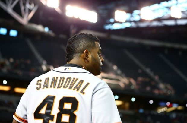 Sep 17, 2014; Phoenix, AZ, USA; San Francisco Giants third baseman Pablo Sandoval against the Arizona Diamondbacks at Chase Field. The Giants defeated the Diamondbacks 4-2. Mandatory Credit: Mark J. Rebilas-USA TODAY Sports