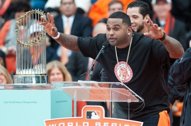 Oct 31, 2014; San Francisco, CA, USA; San Francisco Giants third baseman Pablo Sandoval speaks to the crowd during the World Series celebration at City Hall. The San Francisco Giants defeated the Kansas City Royals in game seven of the World Series. Mandatory Credit: Ed Szczepanski-USA TODAY Sports