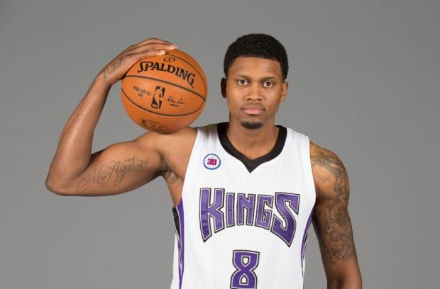 Sep 26, 2014; Sacramento, CA, USA; Sacramento Kings forward Rudy Gay (8) during media day at the Sacramento Kings practice facility. Mandatory Credit: Kelley L Cox-USA TODAY Sports