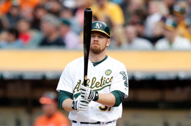 Jul 19, 2014; Oakland, CA, USA;  Oakland Athletics right fielder Brandon Moss (37) at the plate during the fifth inning during a game against the Baltimore Orioles at O.co Coliseum. Mandatory Credit: Bob Stanton-USA TODAY Sports
