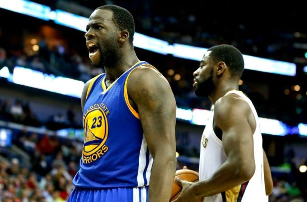 Dec 14, 2014; New Orleans, LA, USA; Golden State Warriors forward Draymond Green (23) reacts after scoring in overtime of a game against the New Orleans Pelicans at the Smoothie King Center. The Warriors defeated the Pelicans 128-122 in overtime.  Mandatory Credit: Derick E. Hingle-USA TODAY Sports