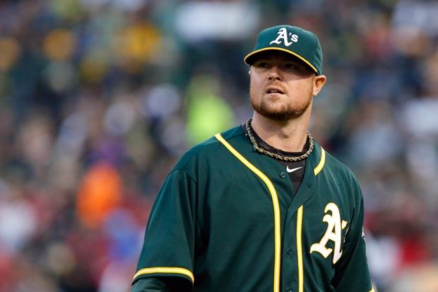 Aug 23, 2014; Oakland, CA, USA; Oakland Athletics starting pitcher Jon Lester (31) at the end of the top of the fifth inning against the Los Angeles Angels at O.co Coliseum. Mandatory Credit: Kelley L Cox-USA TODAY Sports