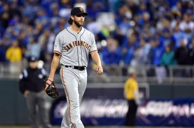 Oct 29, 2014; Kansas City, MO, USA; San Francisco Giants pitcher Madison Bumgarner comes into the game in relief in the fifth inning against the Kansas City Royals during game seven of the 2014 World Series at Kauffman Stadium. Mandatory Credit: Peter G. Aiken-USA TODAY Sports