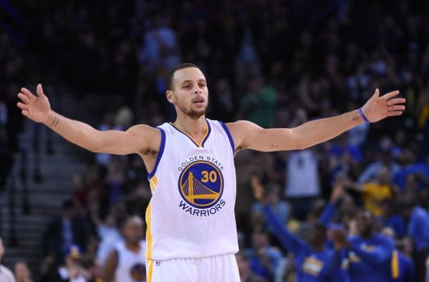 December 2, 2014; Oakland, CA, USA; Golden State Warriors guard Stephen Curry (30) celebrates during the fourth quarter against the Orlando Magic at Oracle Arena. The Warriors defeated the Magic 98-97. Mandatory Credit: Kyle Terada-USA TODAY Sports