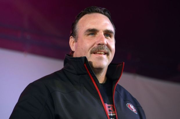 Oct 26, 2013; London, United Kingdom; San Francisco 49ers defensive line coach Jim Tomsula at the NFL Fan Rally at Trafalgar Square in advance of the International Series game against the Jacksonville Jaguars. Mandatory Credit: Kirby Lee-USA TODAY Sports