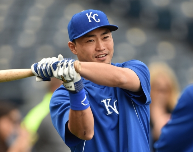 Oct 5, 2014; Kansas City, MO, USA; Kansas City Royals right fielder Nori Aoki (23) prior to game three of the 2014 ALDS baseball playoff game against the Los Angels Angels at Kauffman Stadium. Mandatory Credit: Peter G. Aiken-USA TODAY Sports