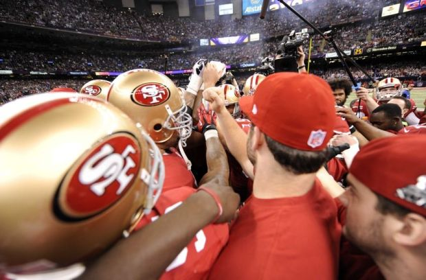 Feb 3, 2013; New Orleans, LA, USA; San Francisco 49ers players huddle before Super Bowl XLVII against the Baltimore Ravens at the Mercedes-Benz Superdome. Mandatory Credit: Robert Deutsch-USA TODAY Sports