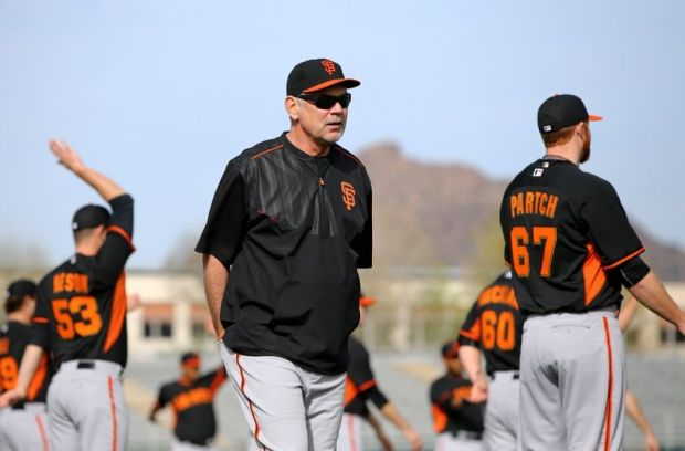 Feb 19, 2015; Glendale, AZ, USA; San Francisco Giants manager Bruce Bochy during spring training workouts at Scottsdale Stadium. Mandatory Credit: Mark J. Rebilas-USA TODAY Sports