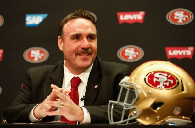 Jan 15, 2015; Santa Clara, CA, USA; San Francisco 49ers head coach Jim Tomsula looks on during the introduction as the 49ers head coach at Levi's Stadium Auditorium. Mandatory Credit: Kelley L Cox-USA TODAY Sports