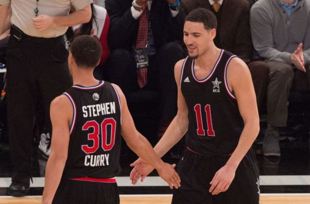 February 15, 2015; New York, NY, USA; Western Conference guard Klay Thompson of the Golden State Warriors (11) high-fives guard Stephen Curry of the Golden State Warriors (30) during the 2015 NBA All-Star Game against the Eastern Conference at Madison Square Garden. Mandatory Credit: Kyle Terada-USA TODAY Sports