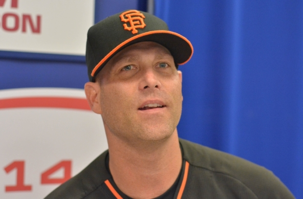 Oct 20, 2014; Kansas City, MO, USA; San Francisco Giants starting pitcher Tim Hudson (17) speaks to media during practice the day before the start of the 2014 World Series against the Kansas City Royals at Kauffman Stadium. Mandatory Credit: Denny Medley-USA TODAY Sports