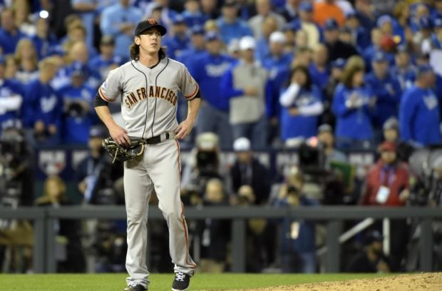 Oct 22, 2014; Kansas City, MO, USA; San Francisco Giants pitcher Tim Lincecum (55) reacts after suffering an apparent injury against the Kansas City Royals in the 8th inning during game two of the 2014 World Series at Kauffman Stadium. Mandatory Credit: Christopher Hanewinckel-USA TODAY Sports