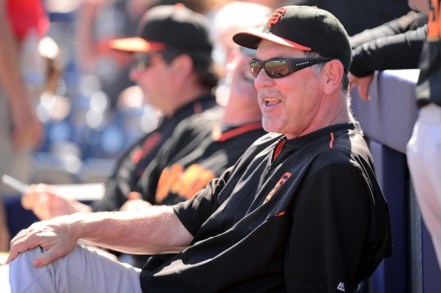 Mar 10, 2015; Peoria, AZ, USA; San Francisco Giants manager Bruce Bochy (15) looks on against the San Diego Padres at Peoria Sports Complex. Mandatory Credit: Joe Camporeale-USA TODAY Sports